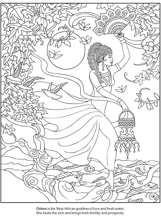 Coloring page of Oshun, the African goddess of love and fresh water