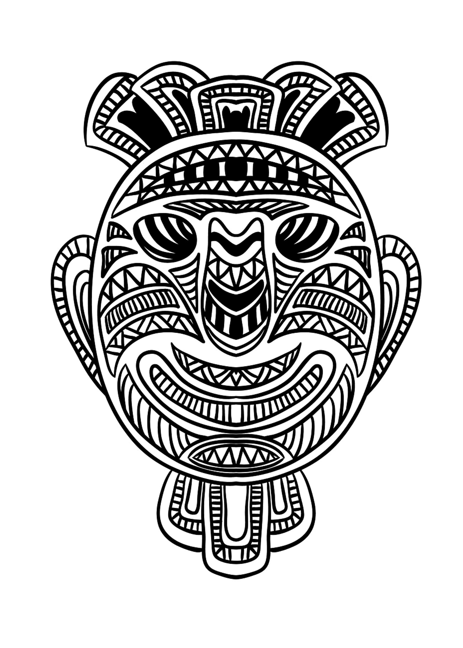 Coloring picture of an African mask - 1