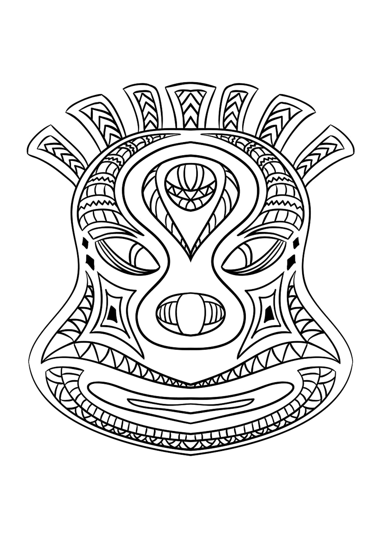 Coloring picture of an African mask - 2