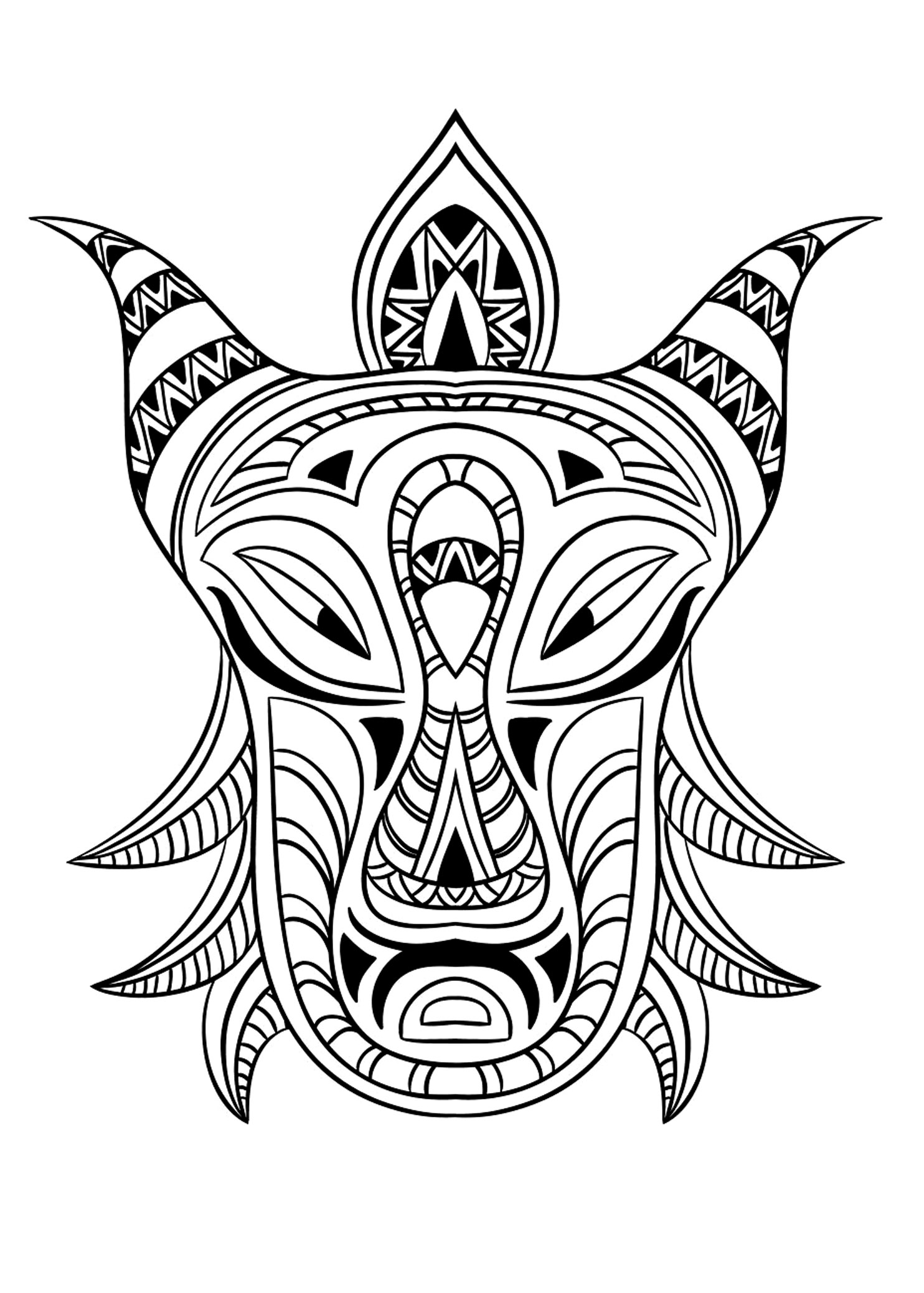 Coloring adult african mask 3