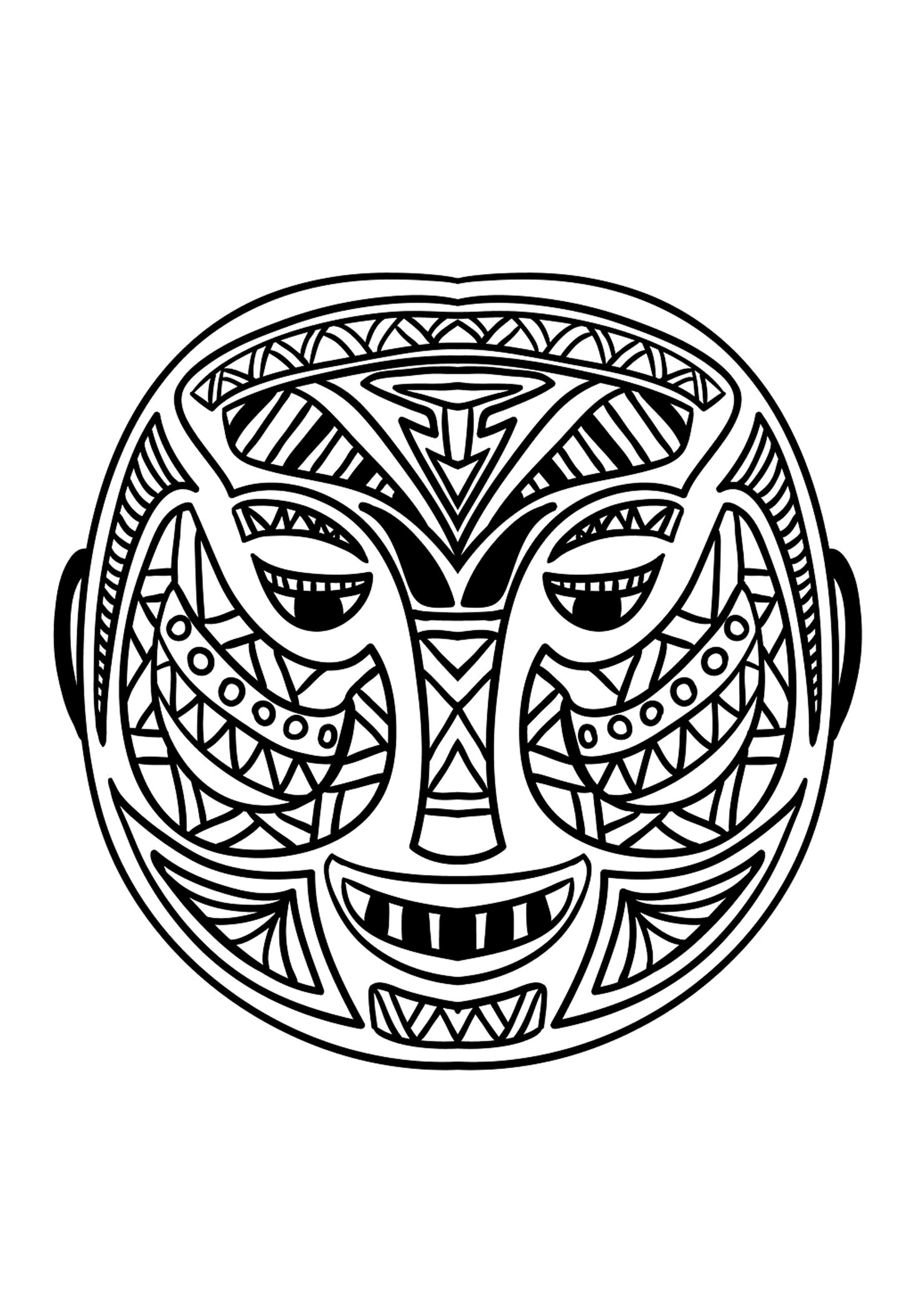 Coloring adult african mask 5