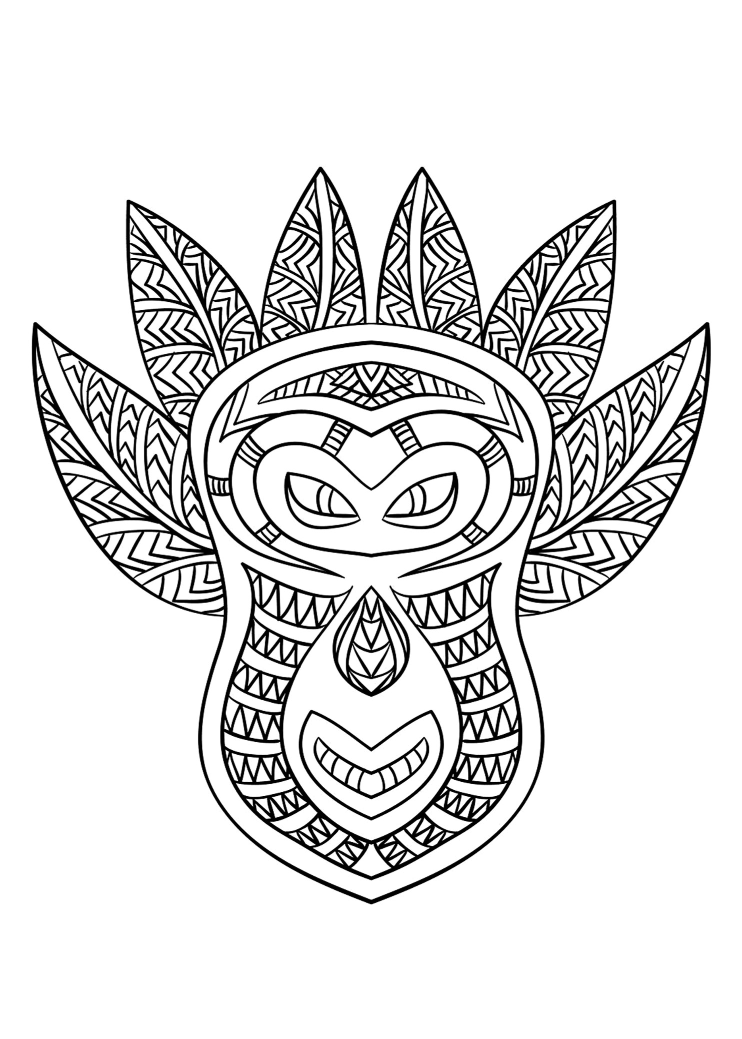 Coloring picture of an African mask - 6