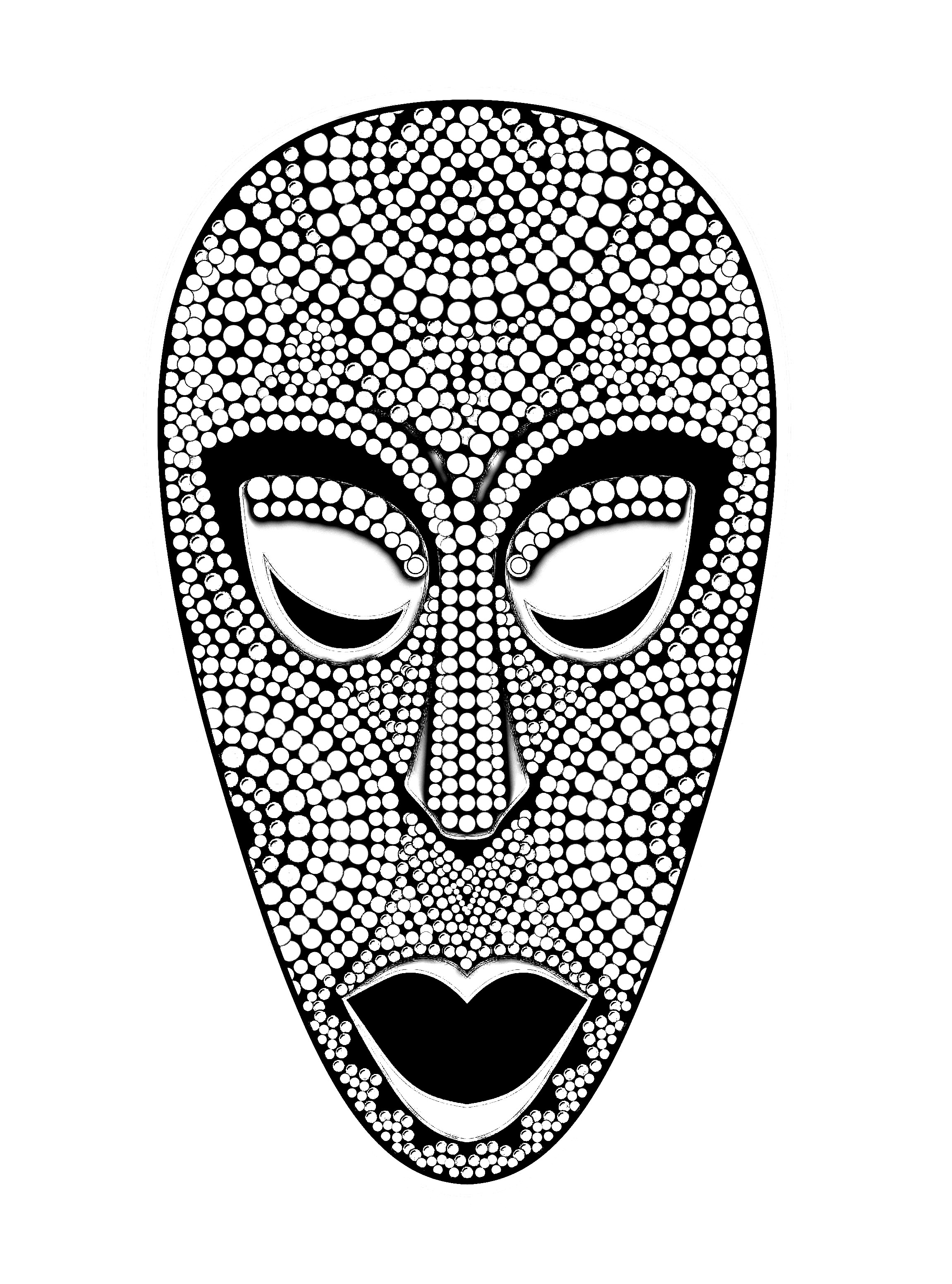 Coloring picture of an impressive African mask