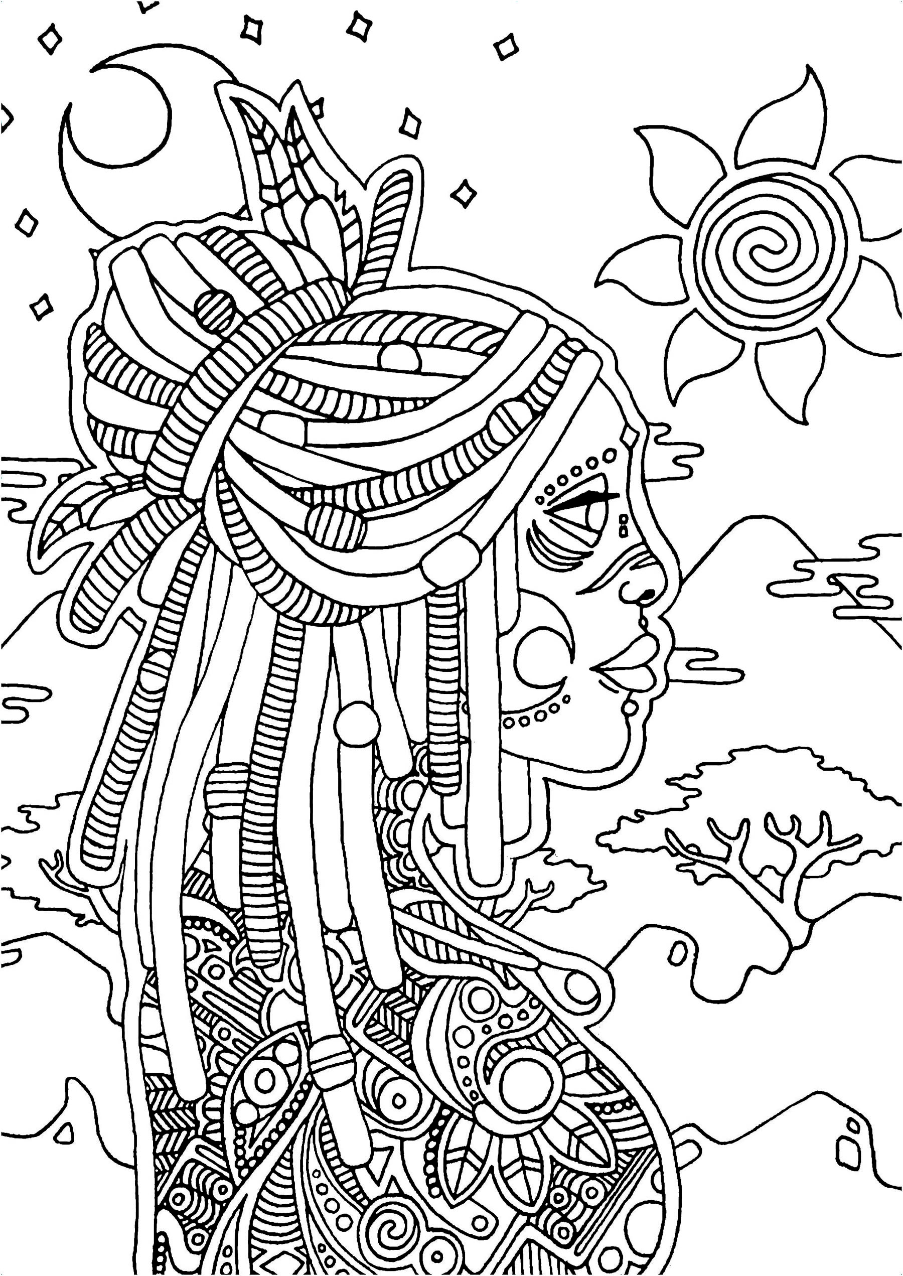 Portrait of a tattooed young woman looking at the wild horizon, in a country of Africa