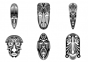 Coloring adult 6 african masks simples