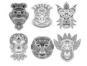 Coloring adult 6 african masks