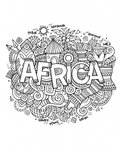 Coloring adult africa abstract symbols