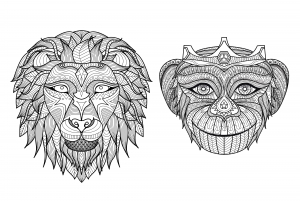 coloring-adult-africa-heads-monkey-lion free to print