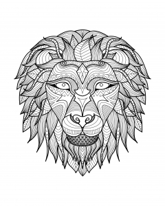 Coloring adult africa lion head 2