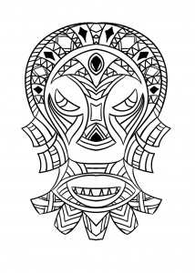 Coloring adult african mask 4