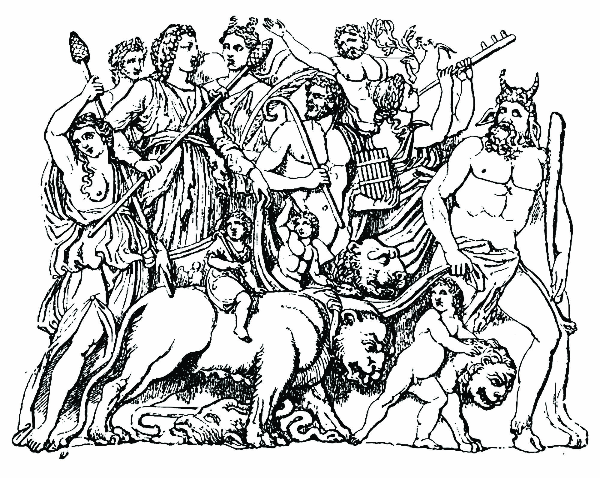 Dionysus drawn by tiger. (Sir William Smith, A Smaller Classical Dictionary of Biography, Mythology, and Geography (1898))