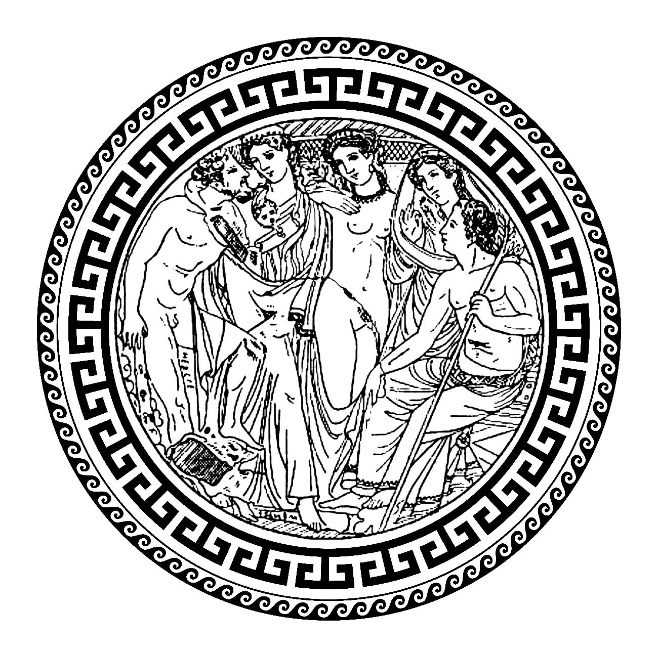 Hebe and Heracles, in a circle with traditional greek patterns - 1