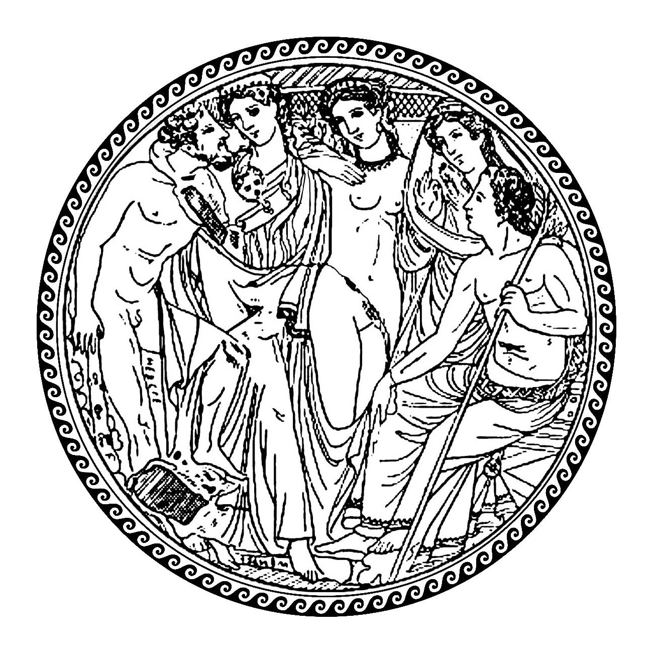 Hebe and Heracles, in a circle with traditional greek patterns - 2