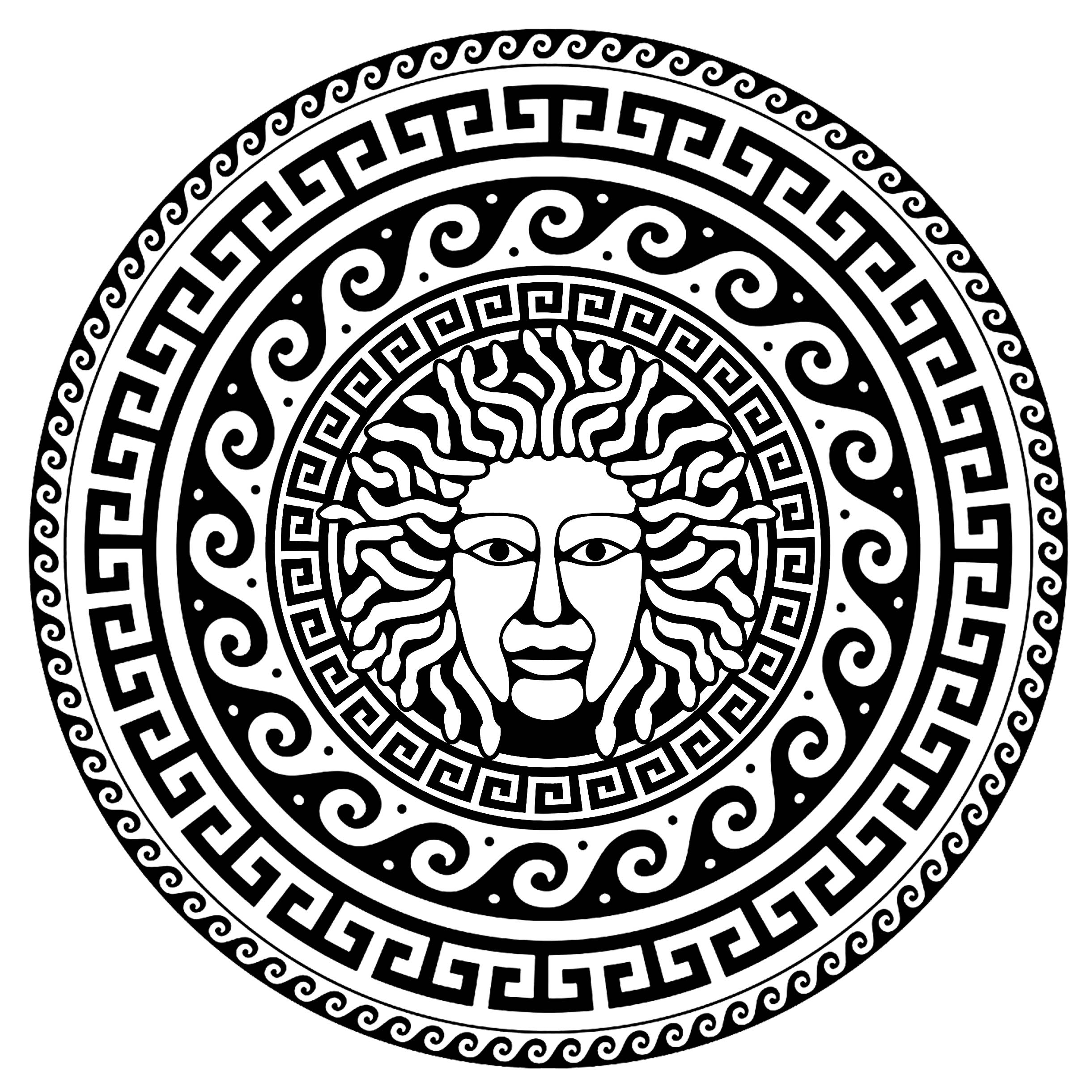 Medusa, in a circle with traditional greek patterns - 1