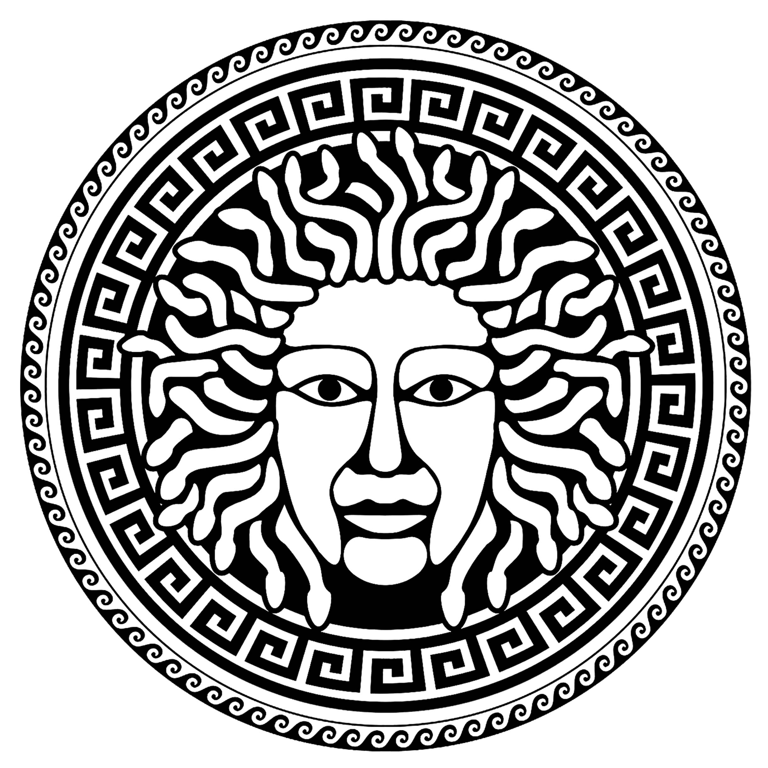 Medusa, in a circle with traditional greek patterns - 3