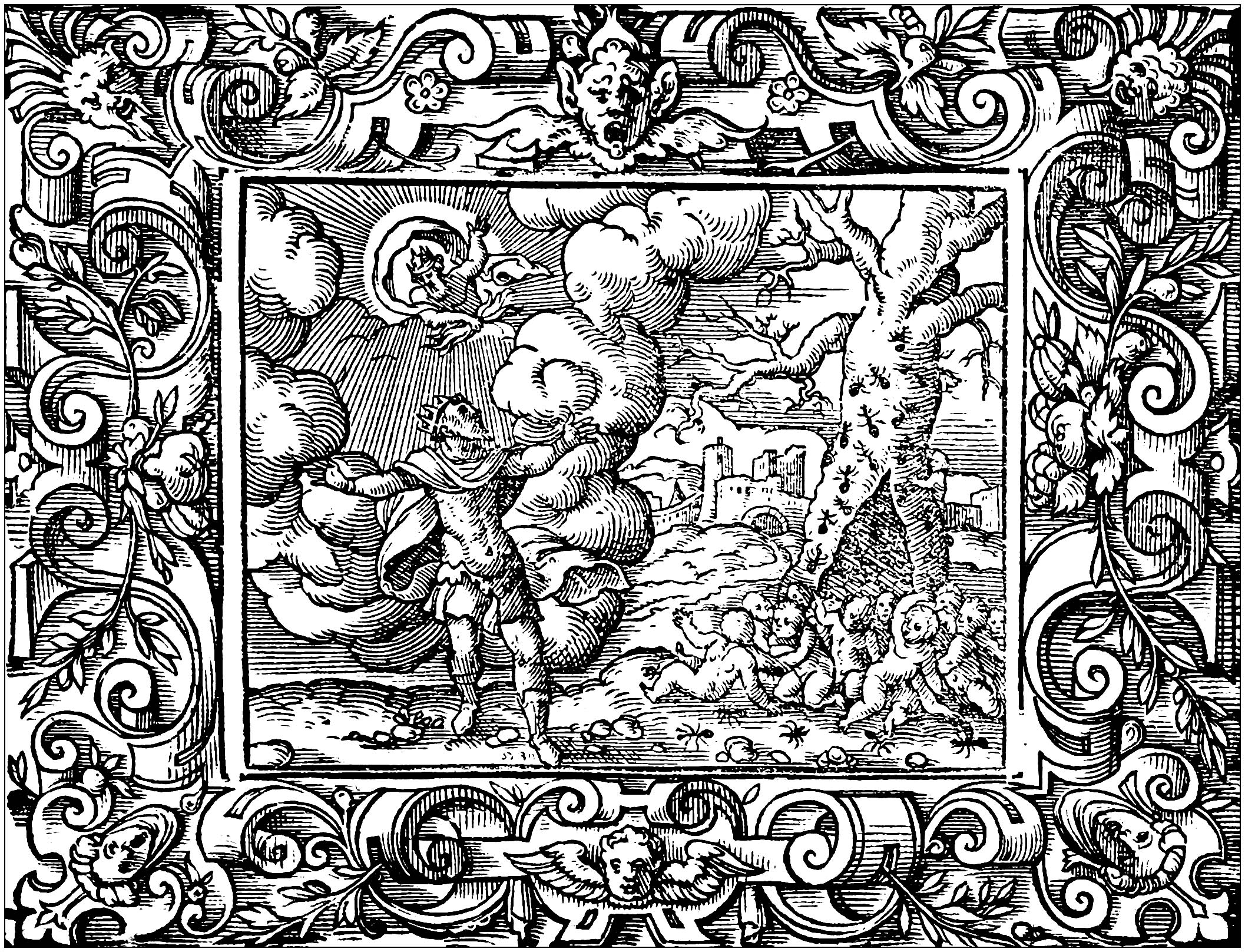 Coloring page created from a drawing by Virgil Solis (1514 - 1562), inspired by 'The Metamorphoses', a Latin poem by the Roman poet Ovid (first century)