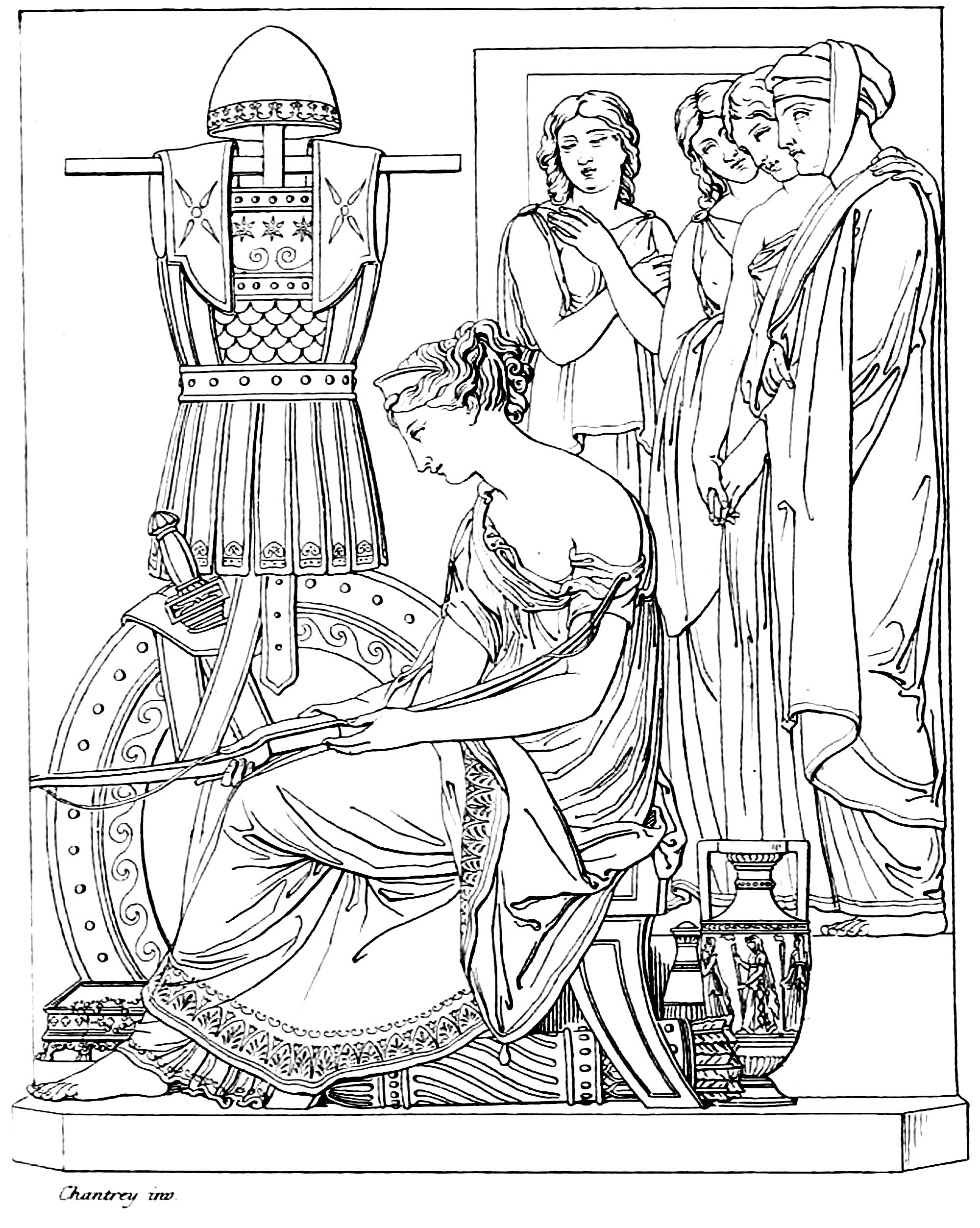 Coloring page adapted from 'Penelope sitting with Odusseus's armo', by Francis Chantrey