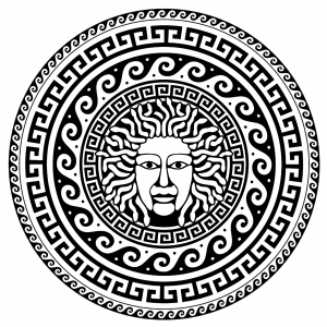 Coloring medusa greek circle 1
