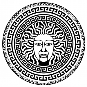 Coloring medusa greek circle 2
