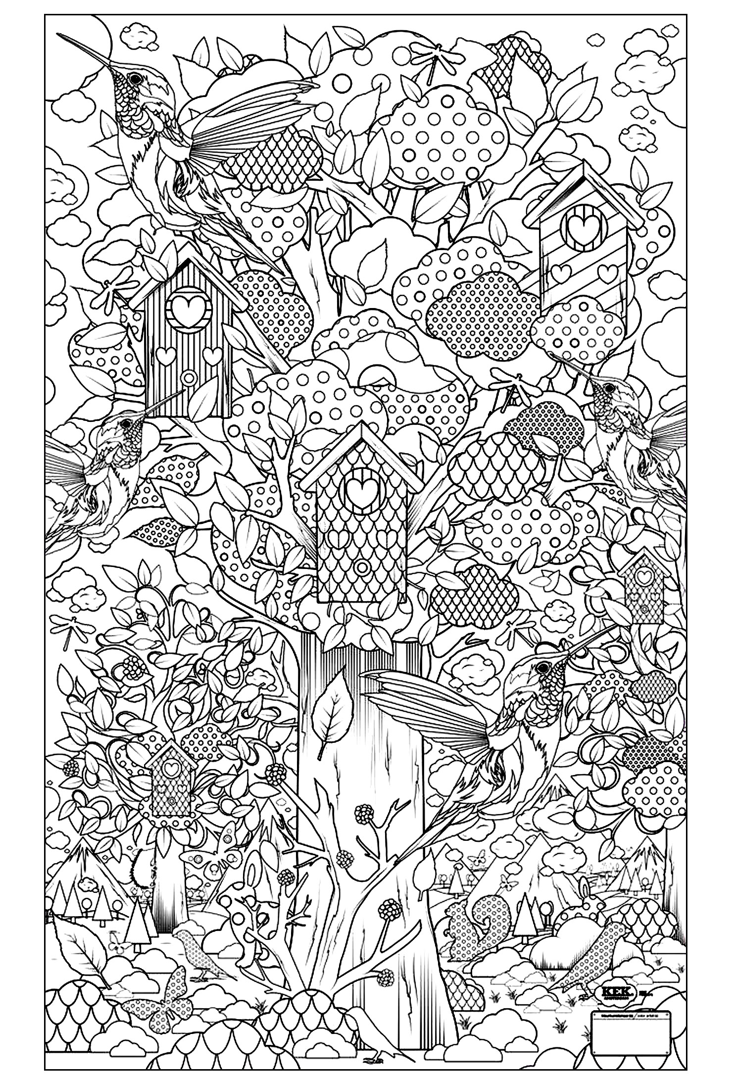 birds and insects coloring pages - birds guarden animals coloring pages for adults
