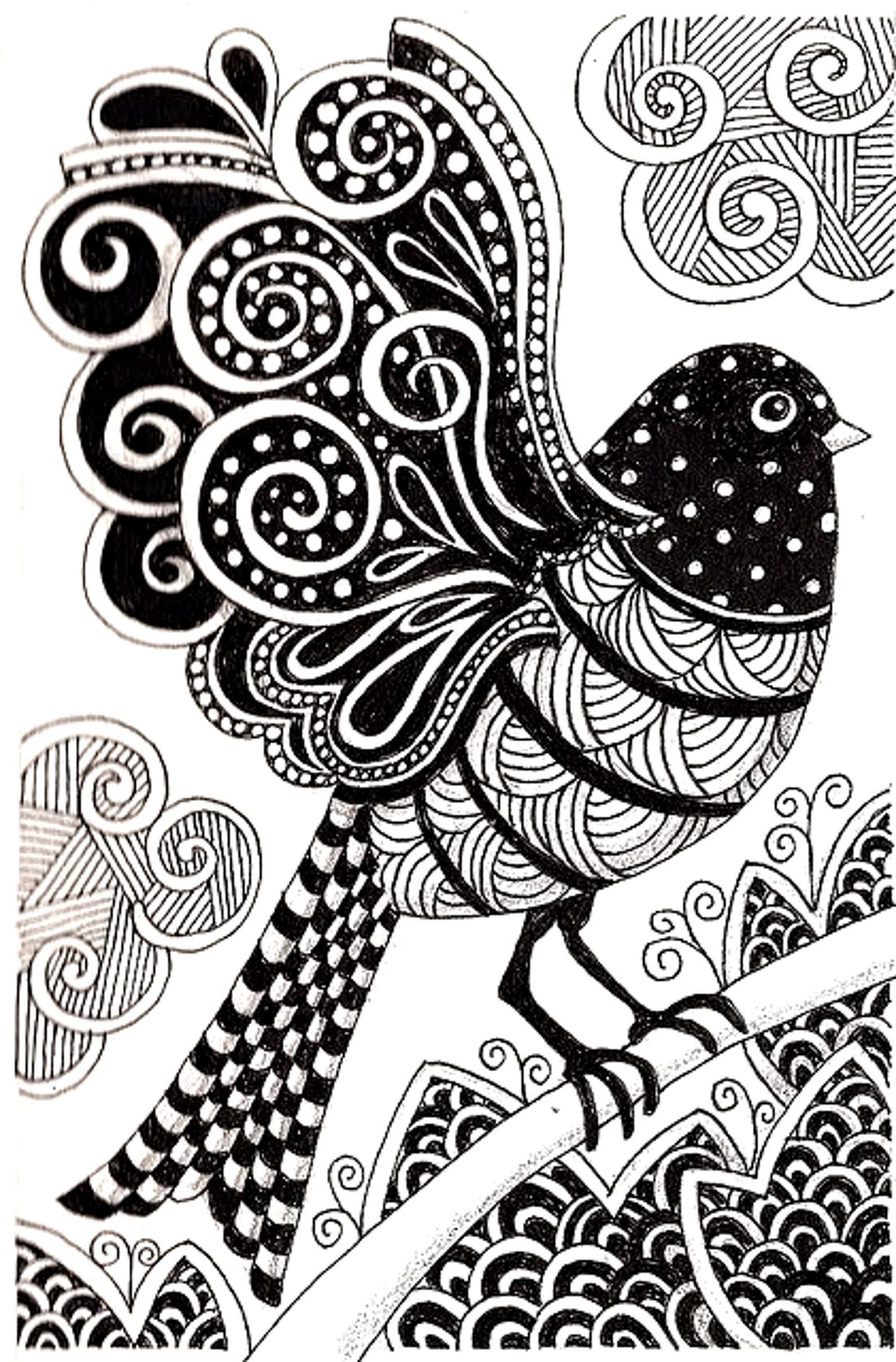 Dark Bird Drawing With Simple Zentangle Patterns