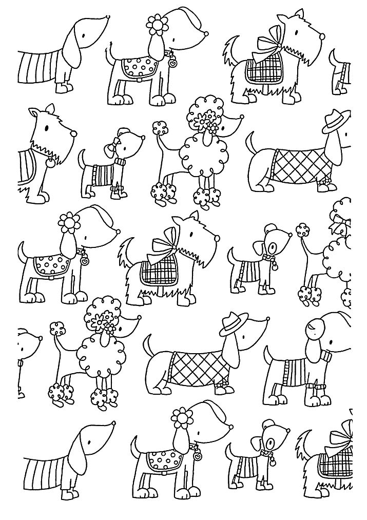 Cute And Elegant Dogs A Simple Coloring Page