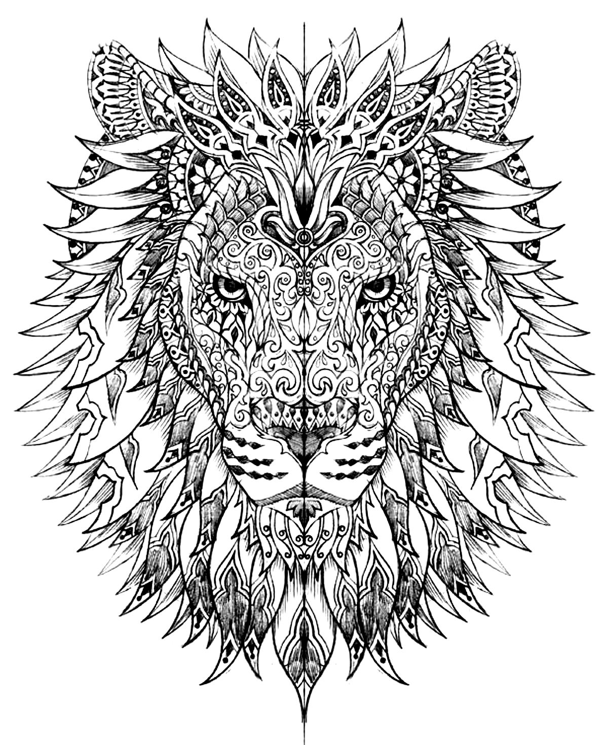 lion head drawn with very smart and harmonious patterns from the gallery animals - Difficult Coloring Pages