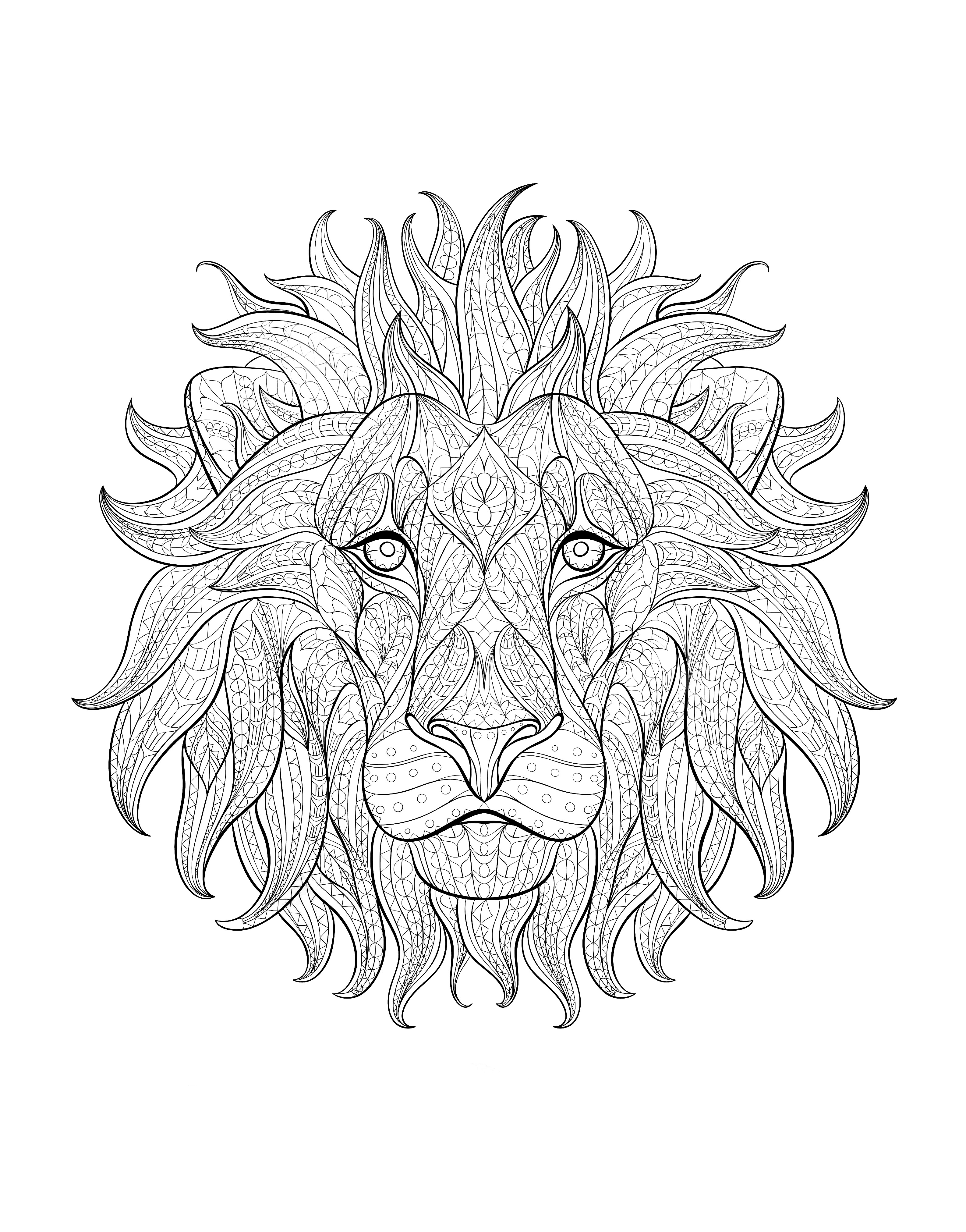 lion head 3 animals coloring pages for adults justcolor