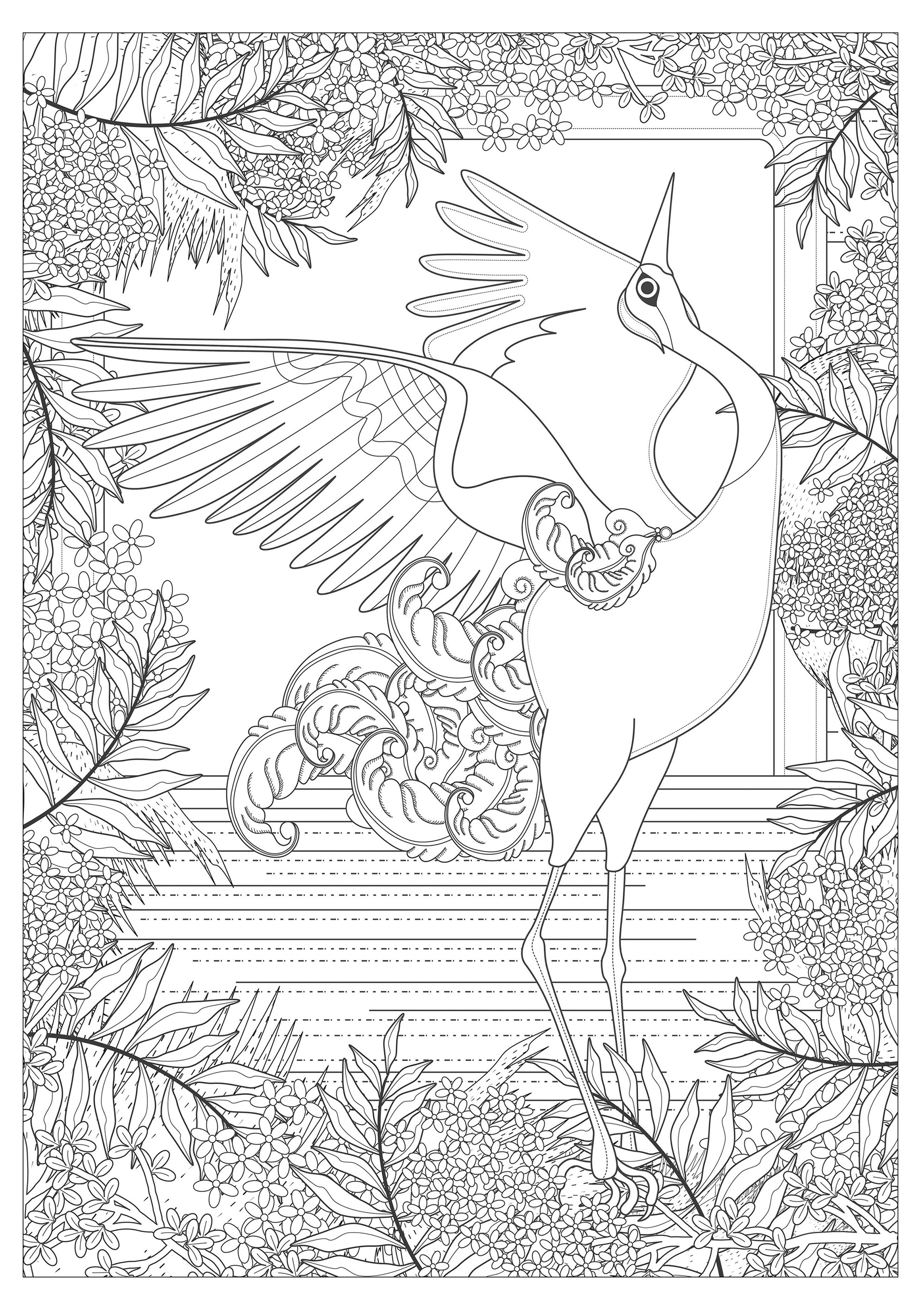 majestic crane by kching animals coloring pages for adults