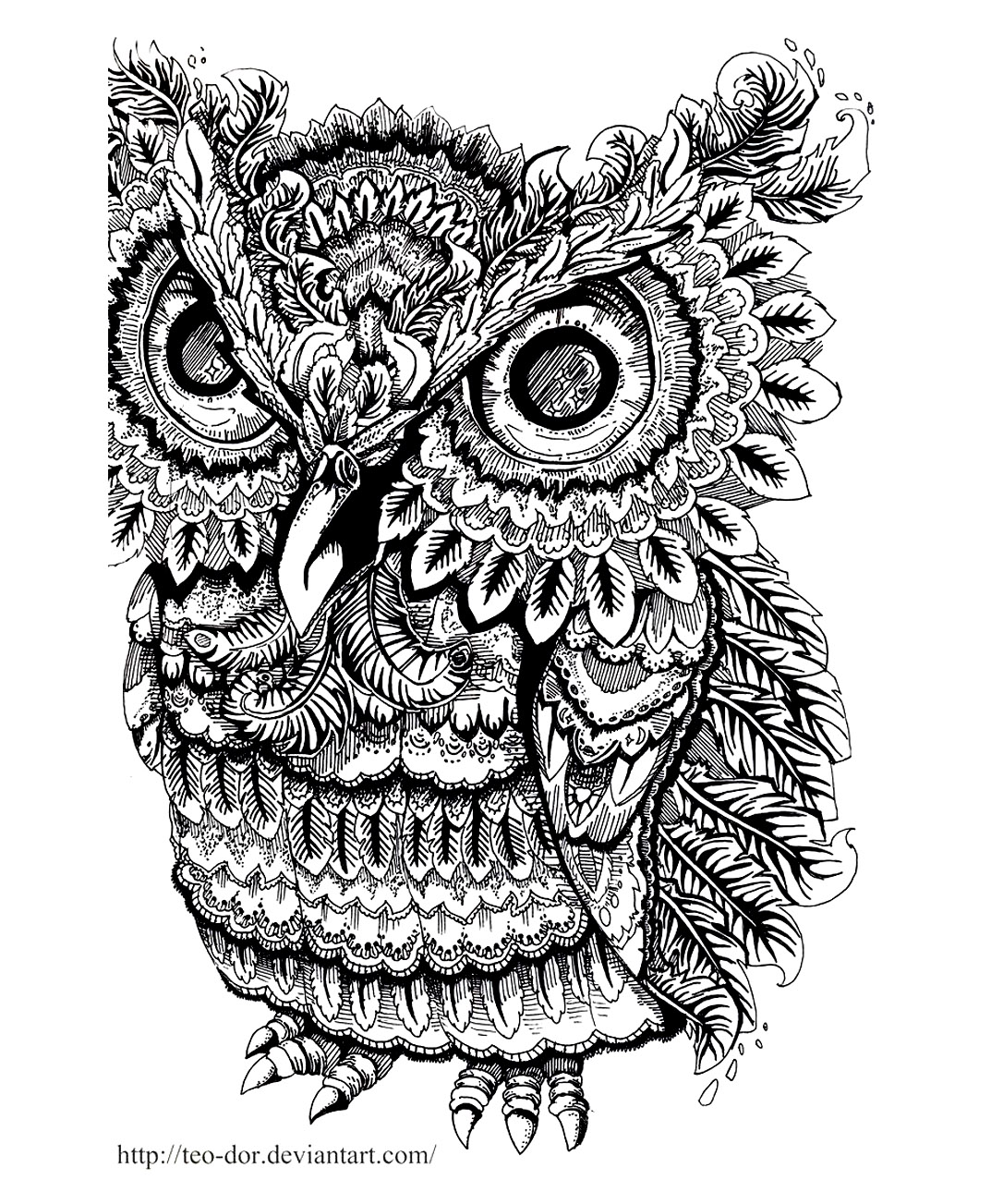 Owls on Coloring pages for adults
