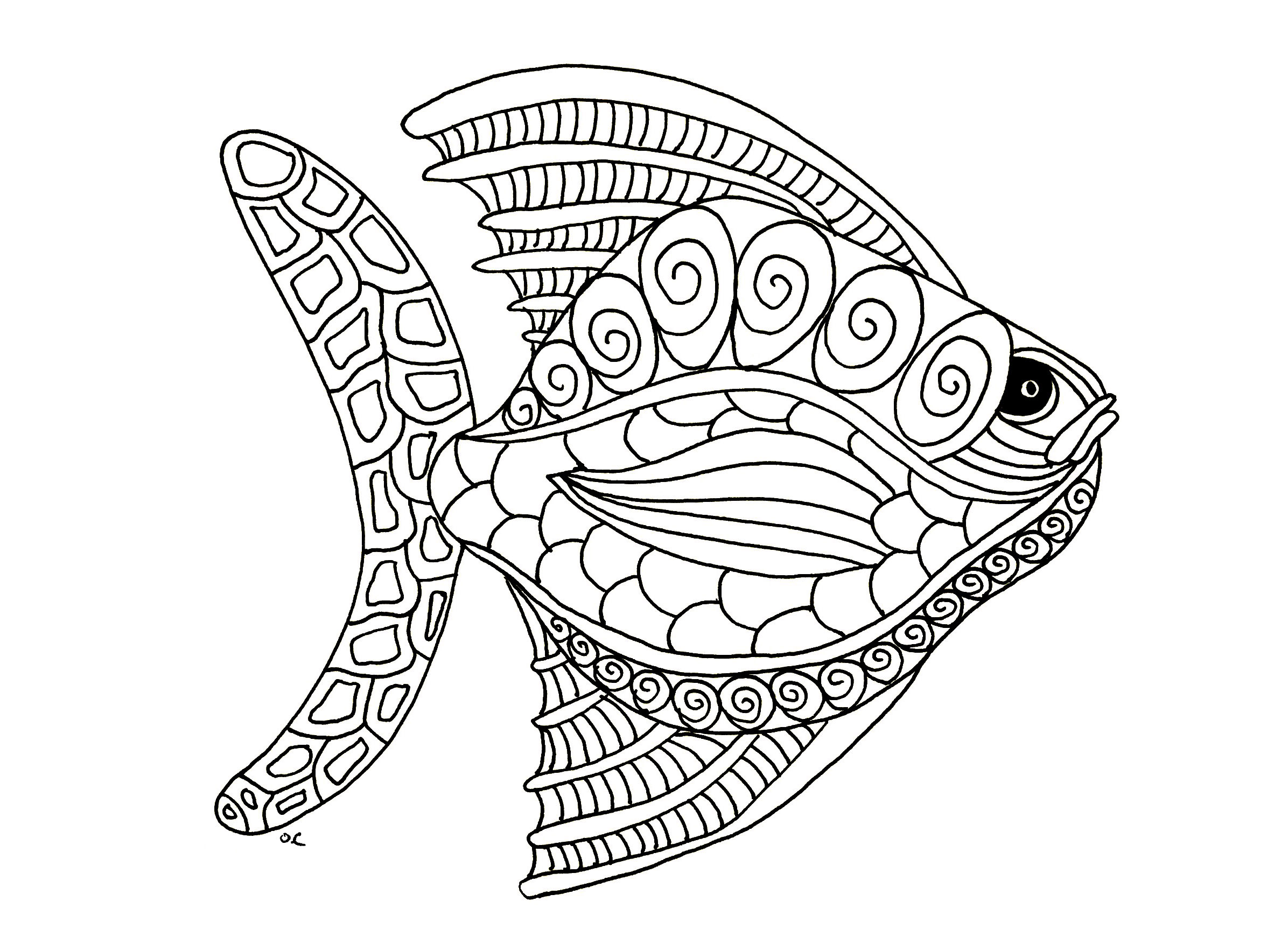 Fish zentangle step 1 by olivier animals coloring for Hard fish coloring pages