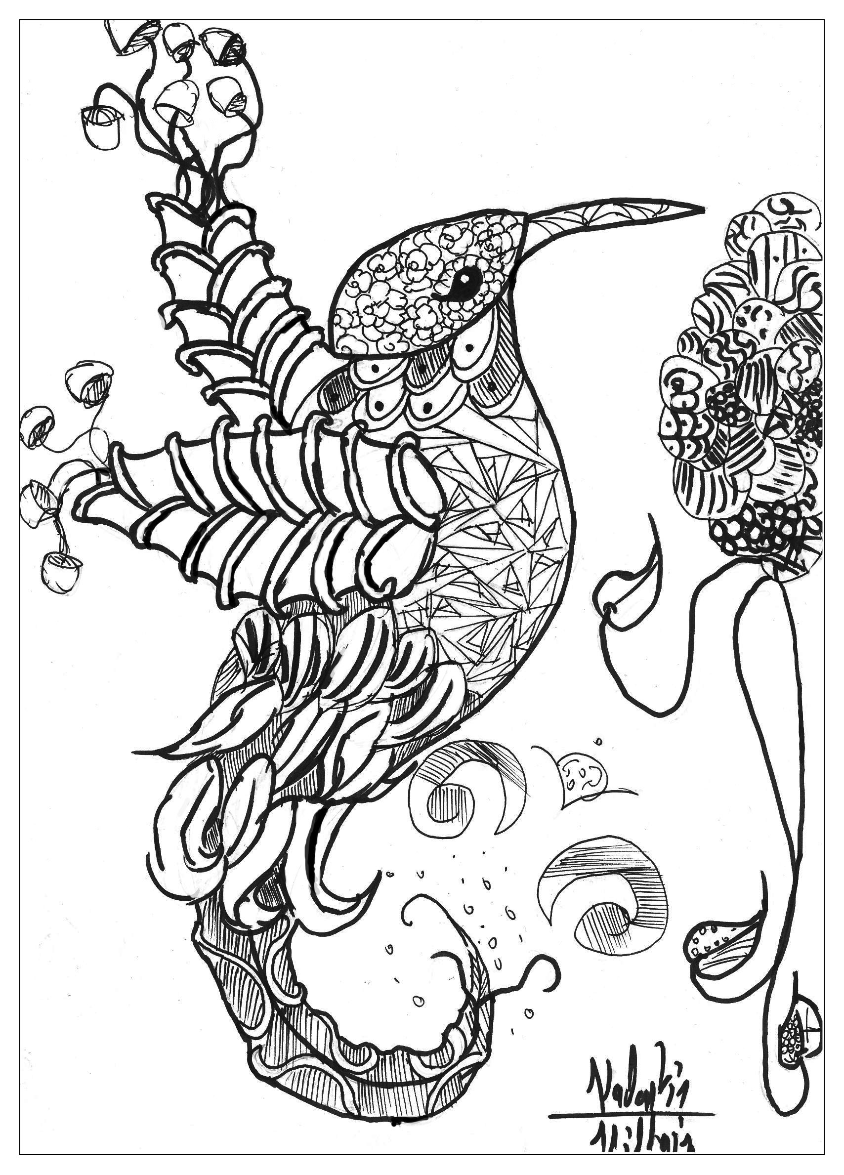 Coloring Page Adults Animals Bird Valentin Free To Print