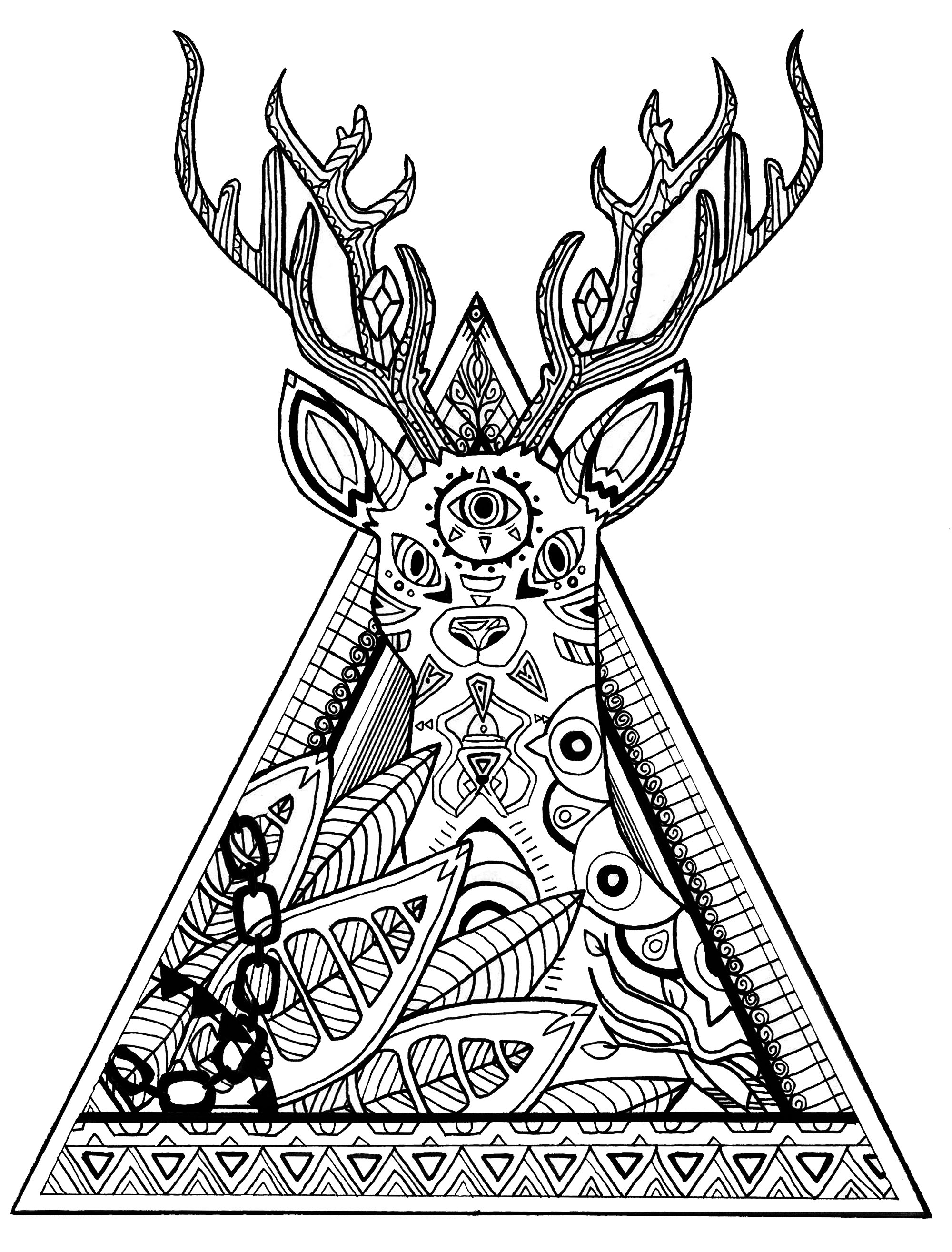 coloring page deer in a triangle free to print
