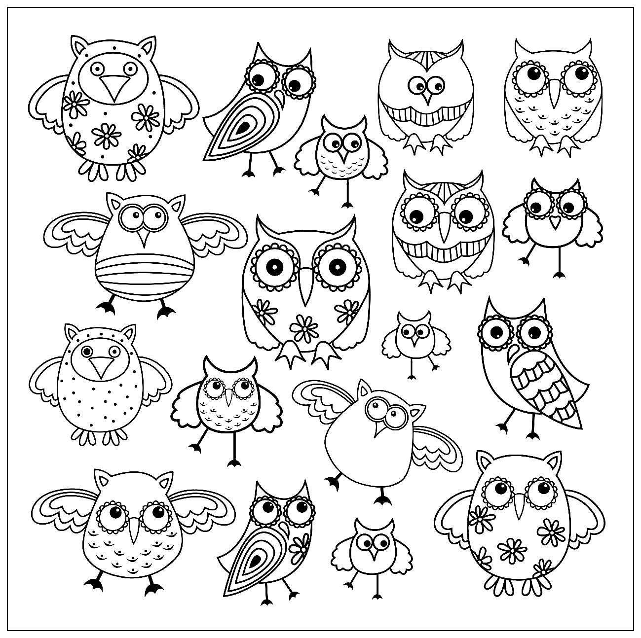 coloring page doodle owls 2 free to print - Coloring The Pictures