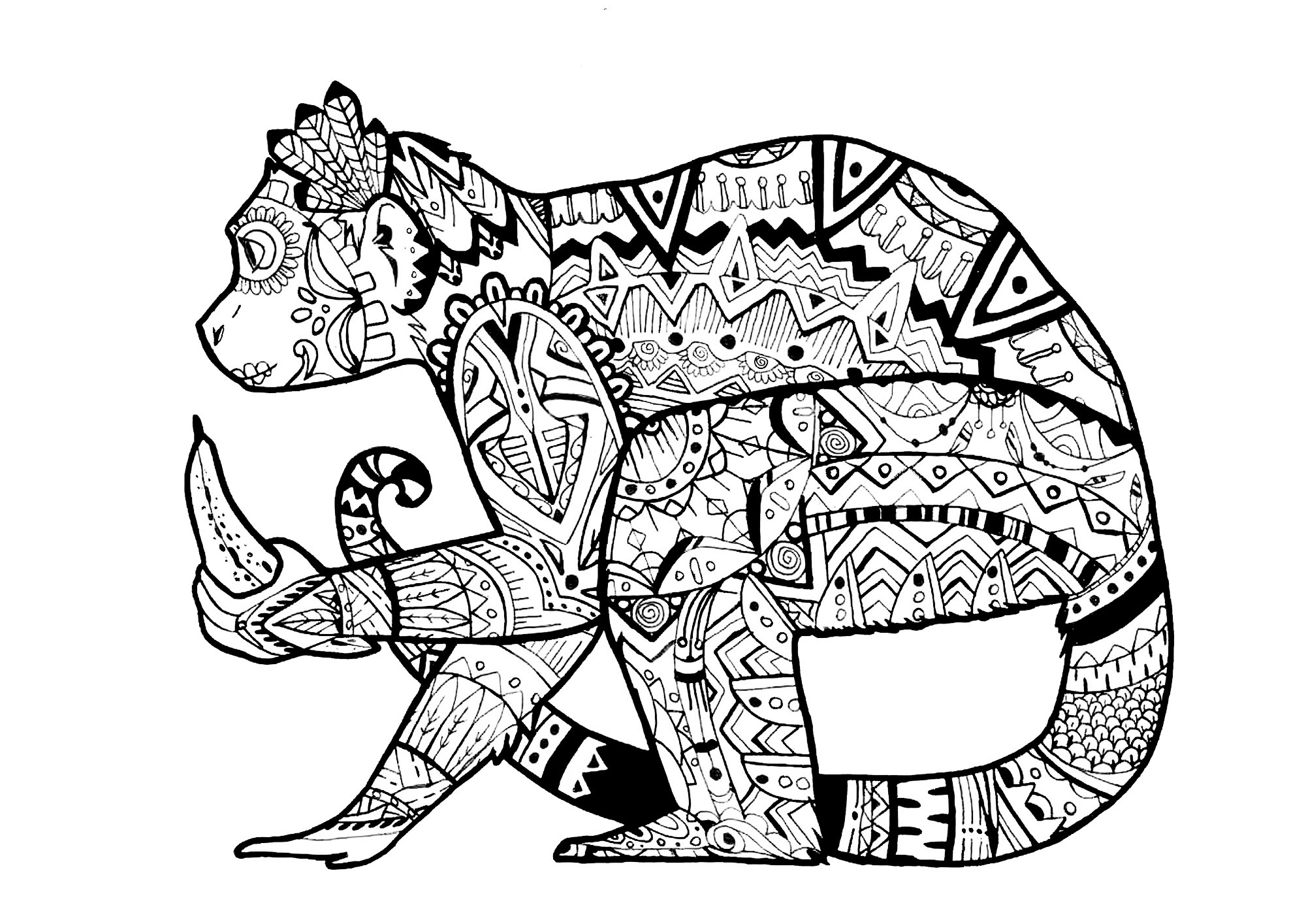 a monkey in a zentangle style from the gallery animals artist pauline - Animal Coloring Pages