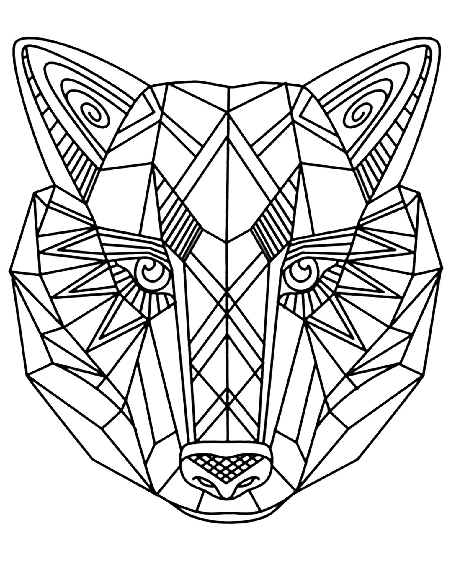 Wolf 1 animals coloring pages for adults justcolor for Coloring page of a wolf