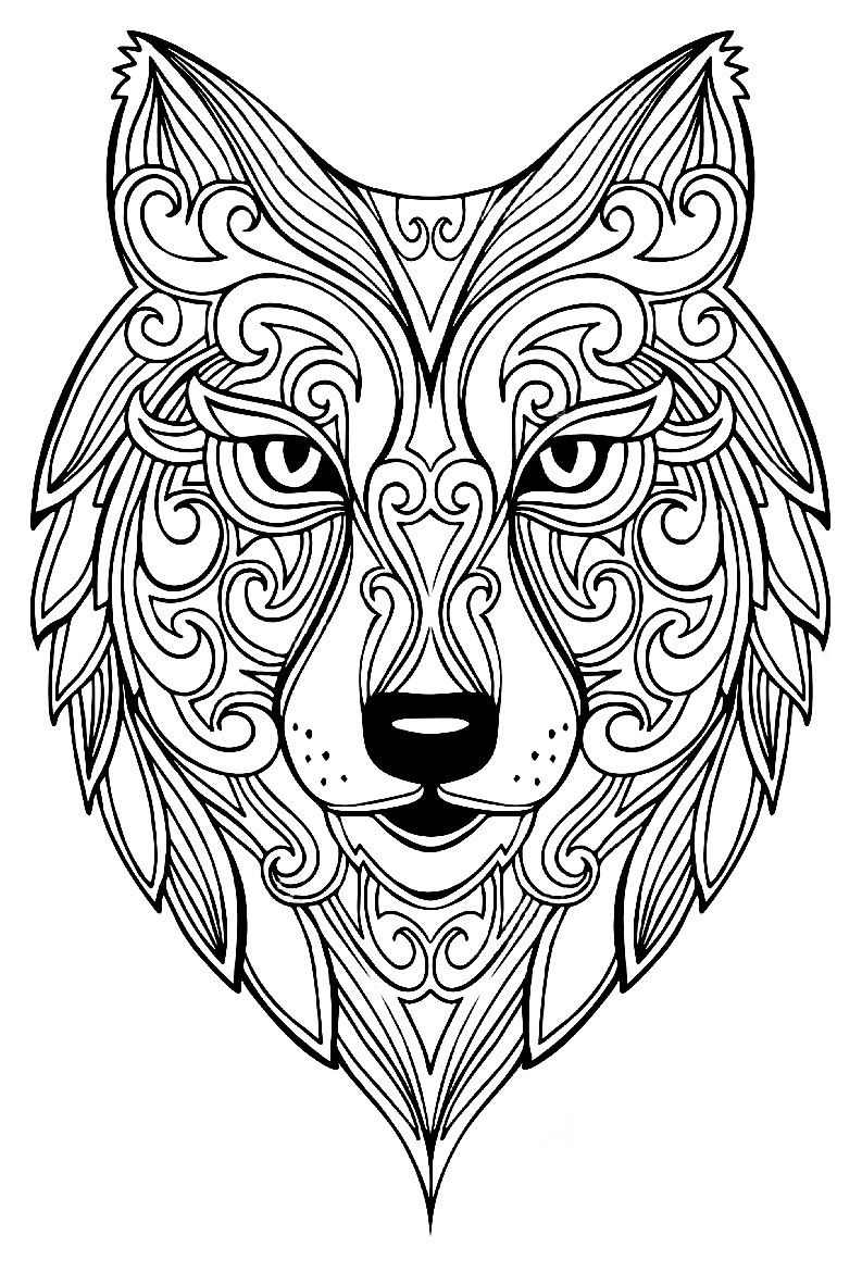 christmas wolf coloring pages | Wolf 2 | Animals - Coloring pages for adults | JustColor