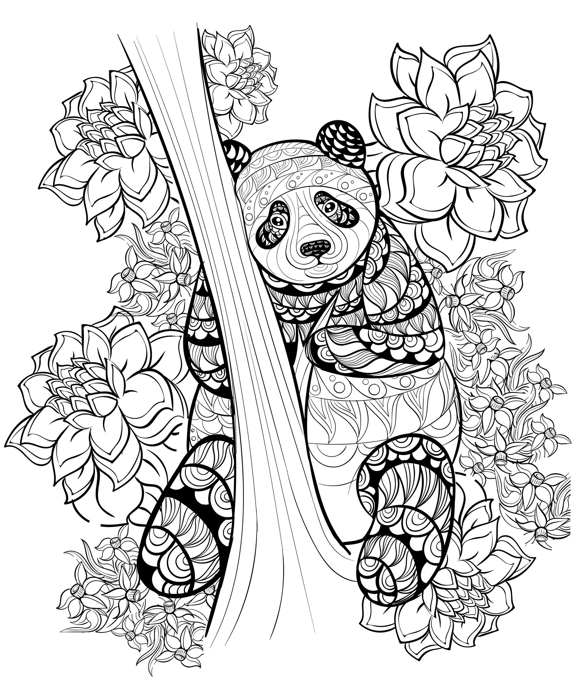 hand drawn ink pattern of a panda from the gallery animals - Color Pages For Adults