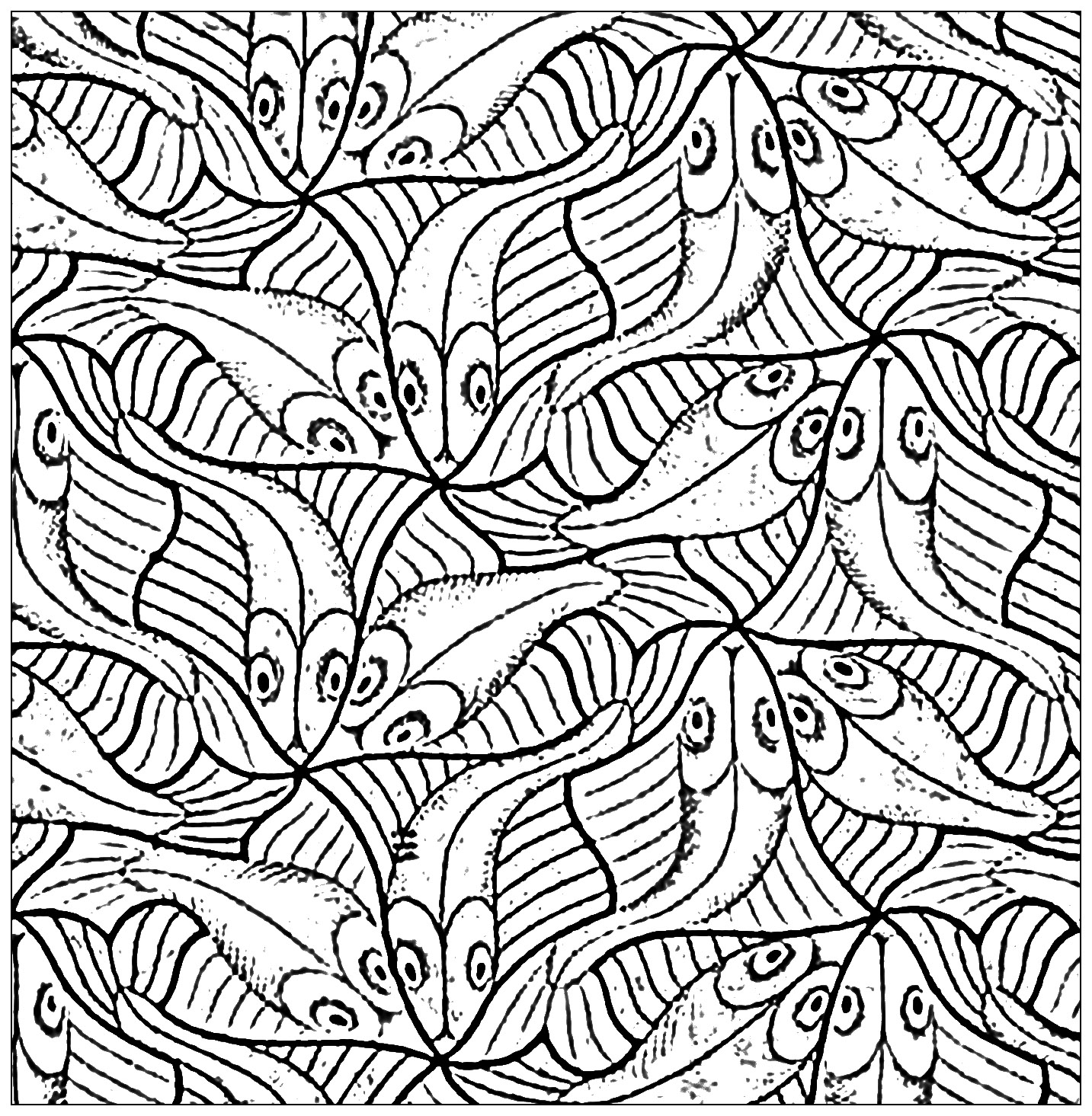 Squared drawing with fishes by m c escher animals for Mc escher tessellations coloring pages