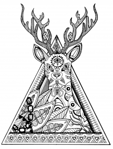 coloring page deer in a triangle