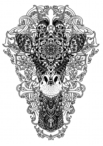 coloring-page-head-of-a-giraffe free to print
