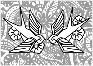 New Coloring Pages Swallows With Background Full Of Flowers