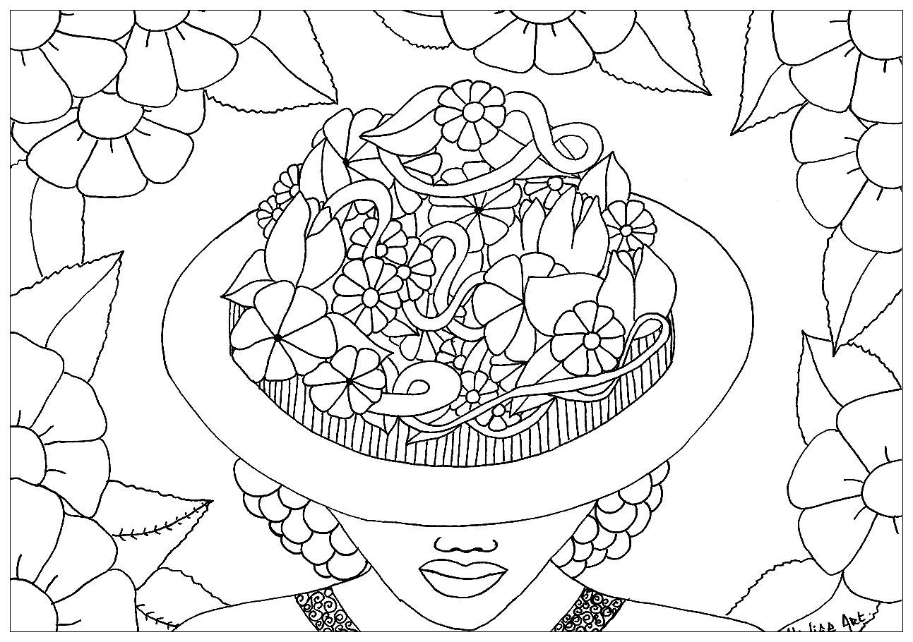 Woman with her face hidden behind a flowered hat