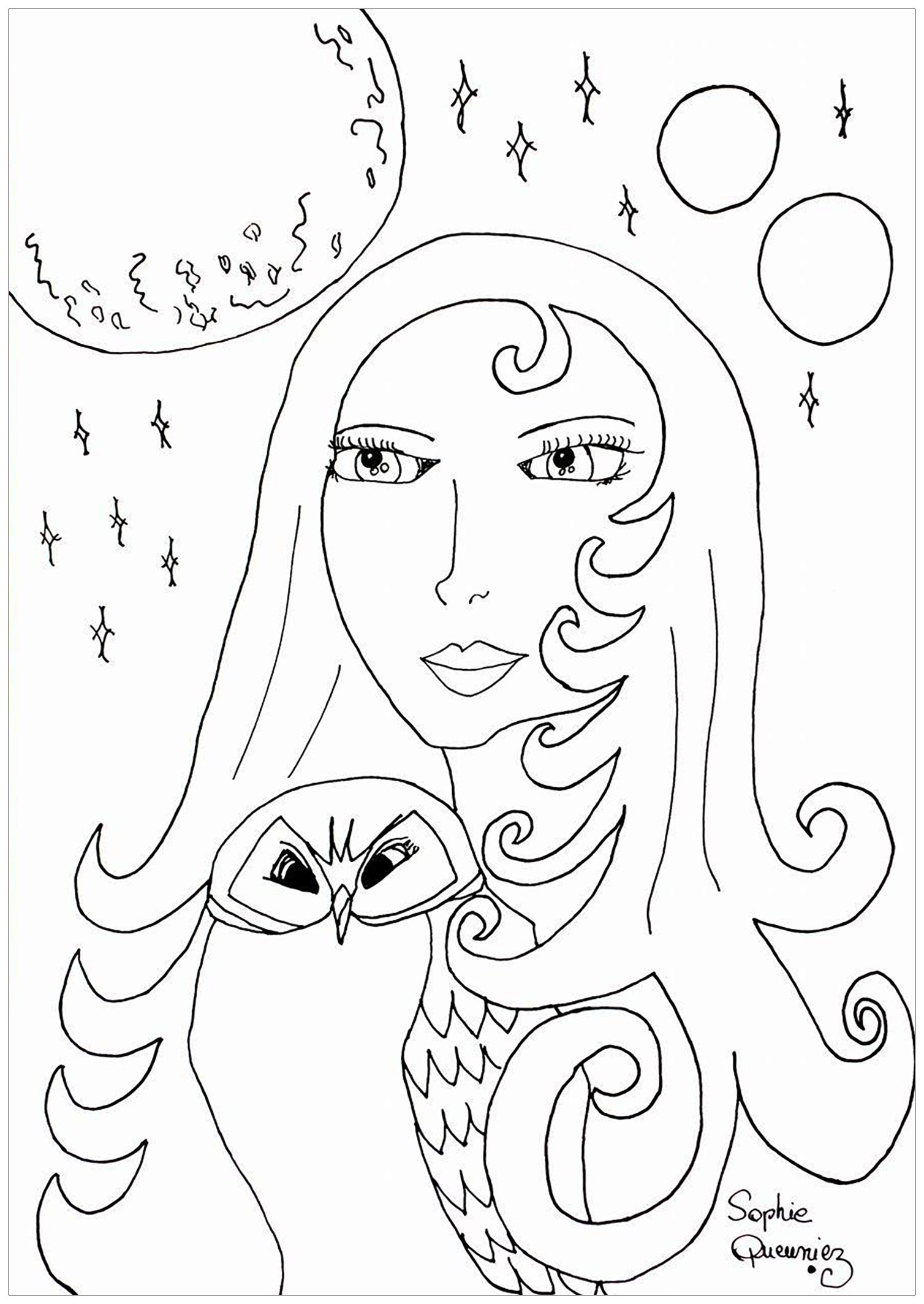 Coloring adult full moon and owl