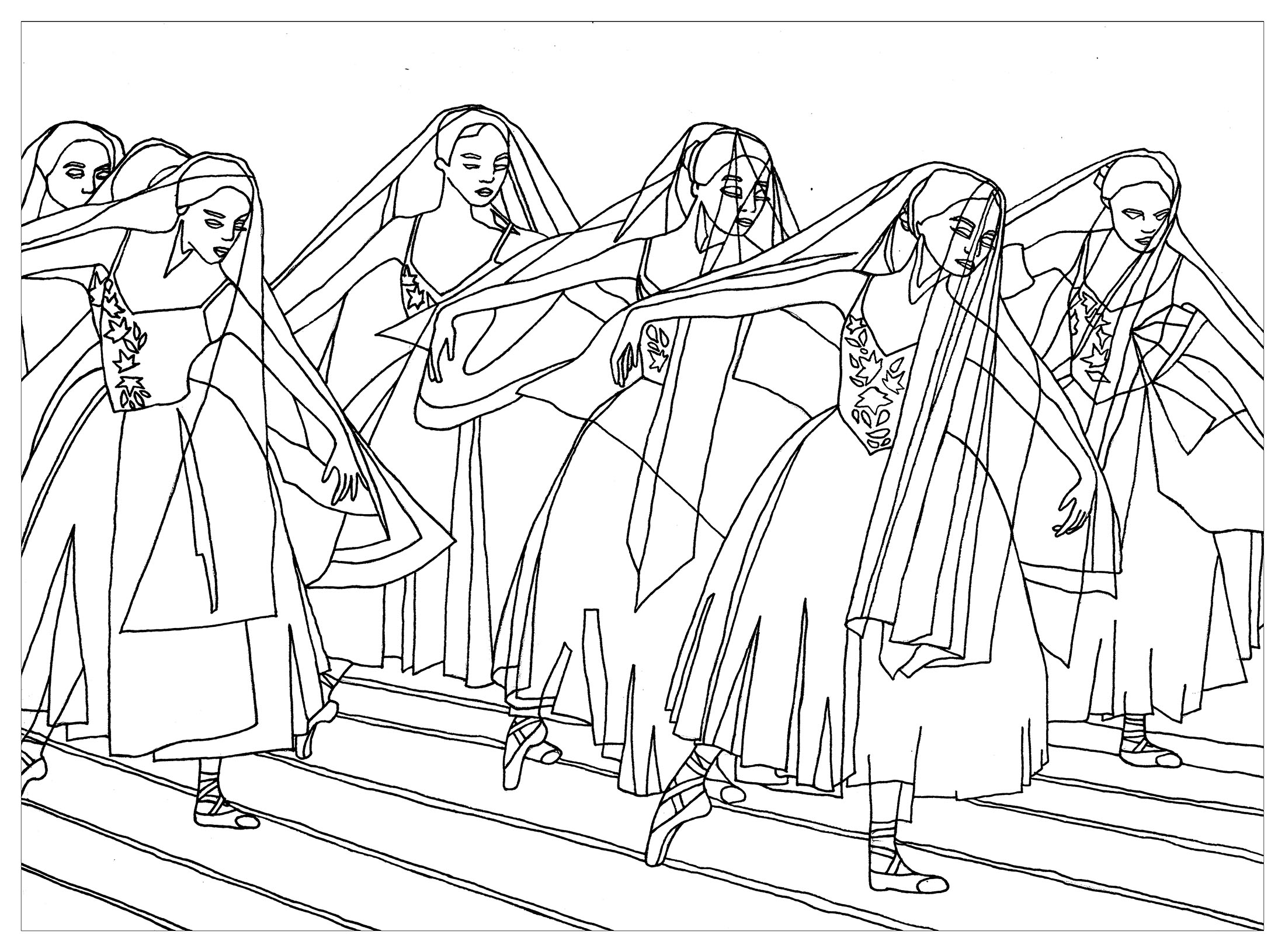 Beautiful coloring page inspired by the ballet 'Gisele'