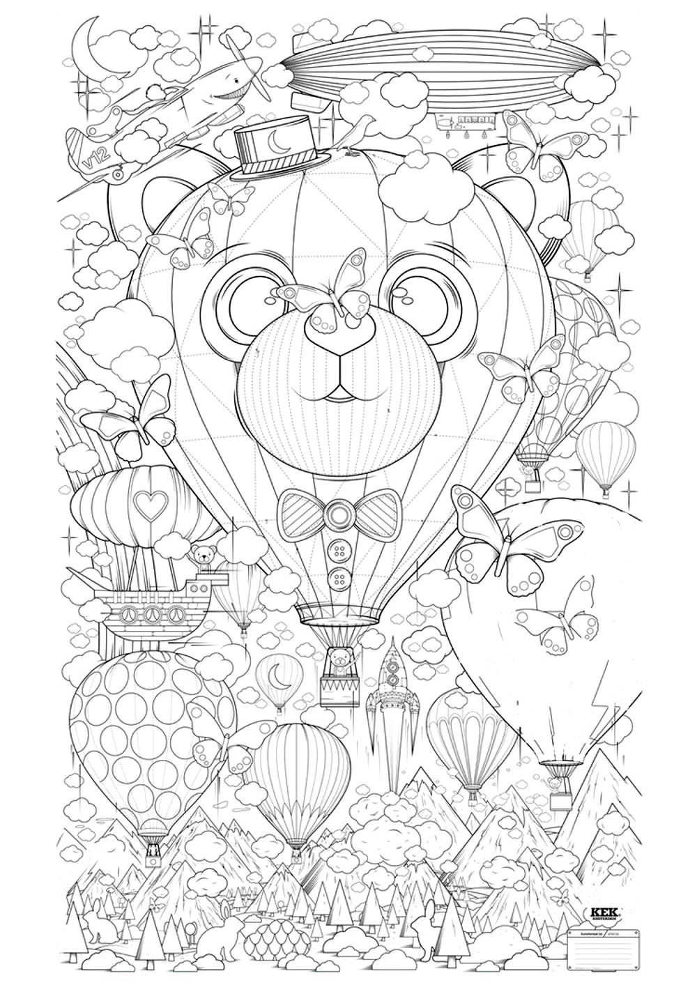 Hot Air Balloon Zen Anti Stress To Print Anti Stress Adult Coloring Pages