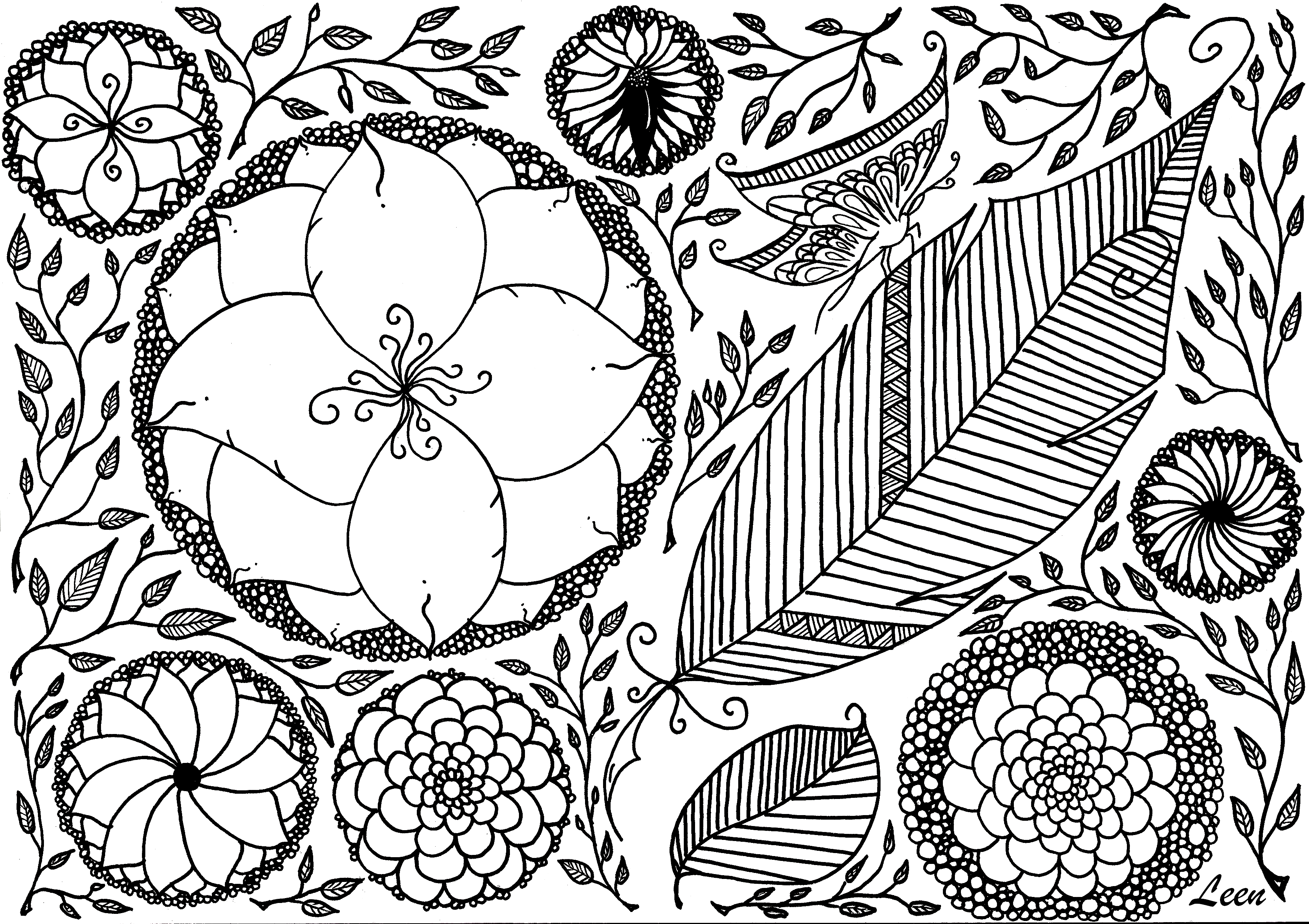 Leen margot spring Zen and Anti stress Coloring pages for adults