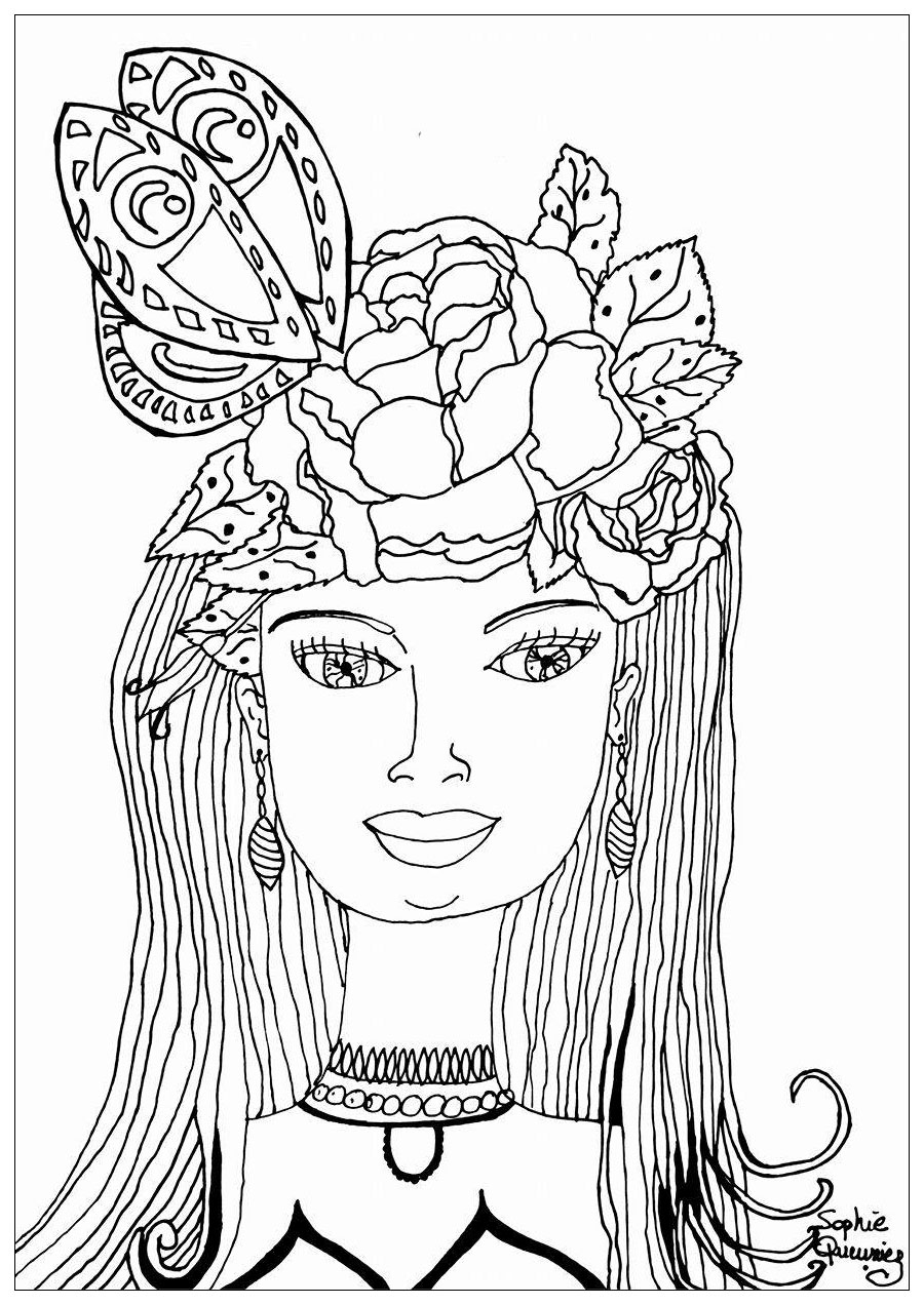 Coloring Page Summer Hat Butterfly Woman