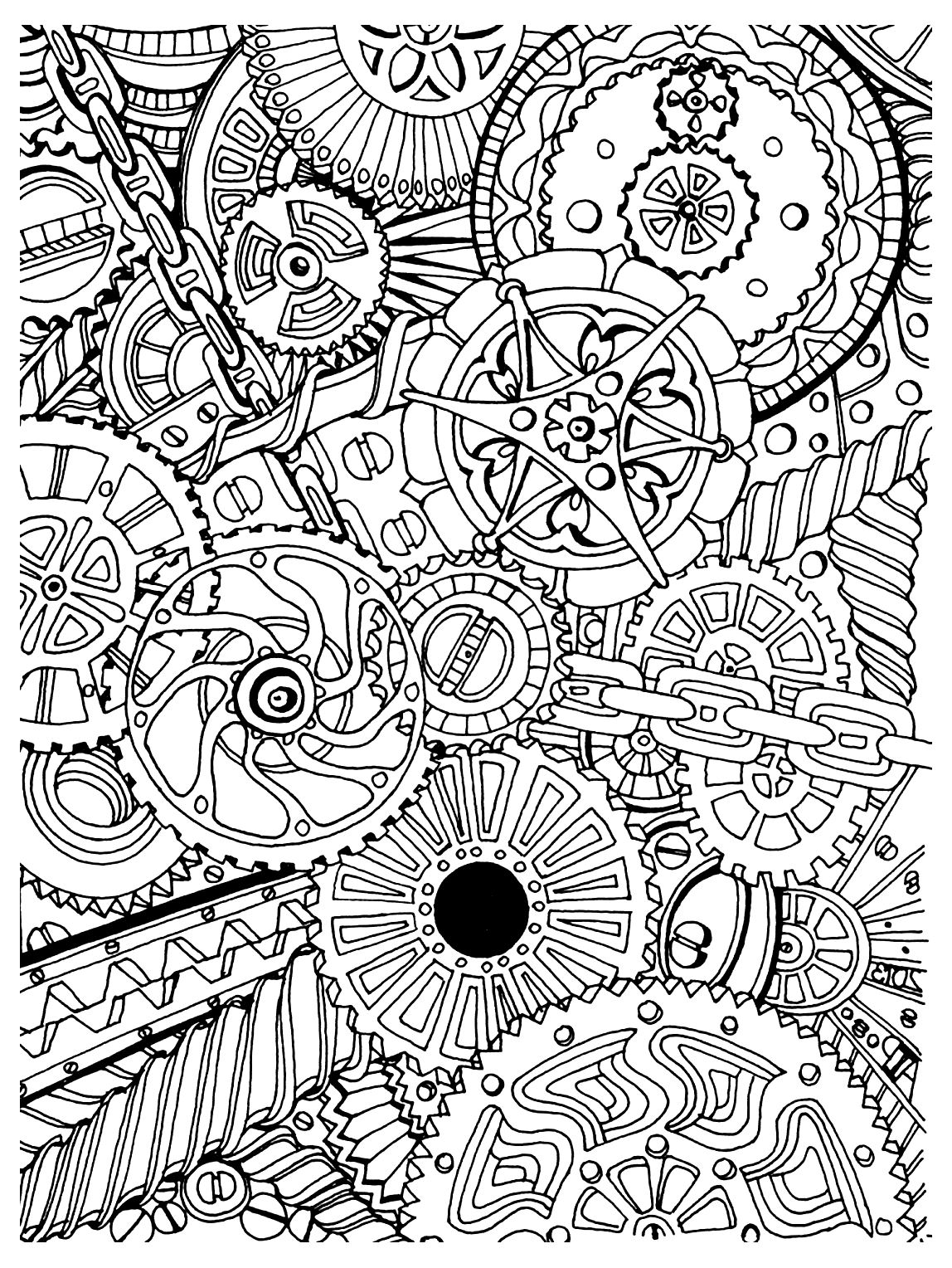 Coloring page zen anti stress mechanisms to print mechanisms