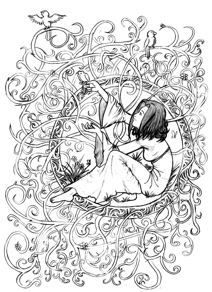 Stress coloring books - Zen Anti Stress To Print Princess In Leaves And Branches Image With Girl